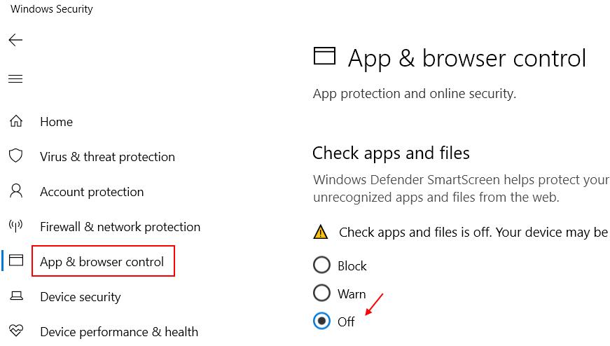 Controllo del browser dell'app disabilitato