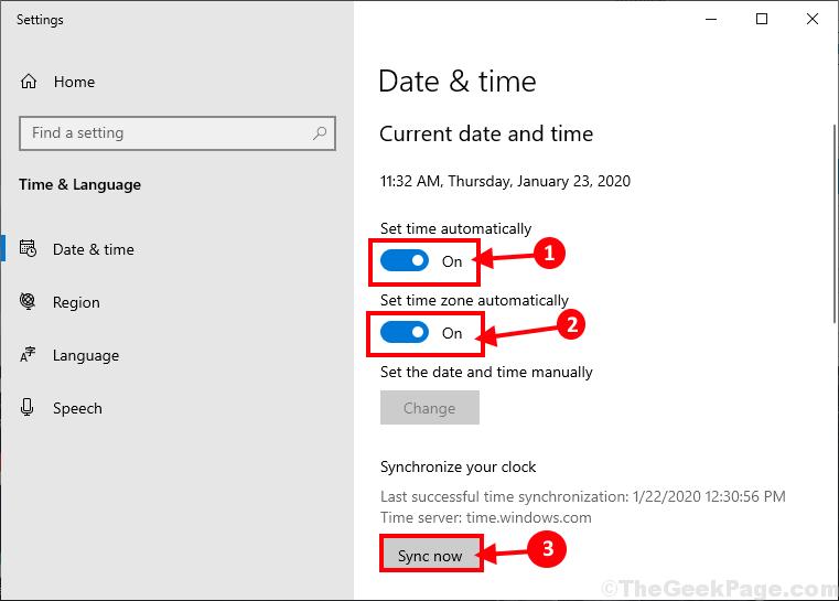 Sincronizza data e ora