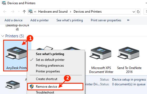 Rimuovi la stampante dal dispositivo
