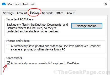 Screenshot Onedrive Backup