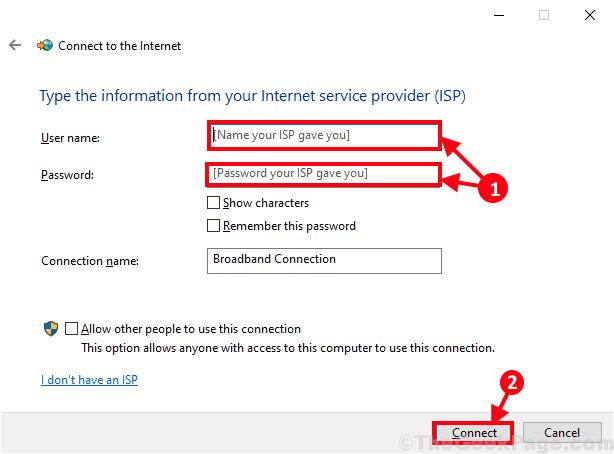 Nome utente e password a banda larga