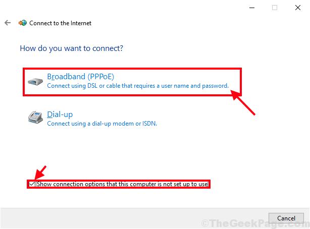 Connessione a banda larga comprovata