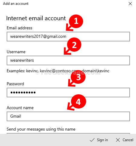 Indirizzo e-mail Nome utente Password Nome account
