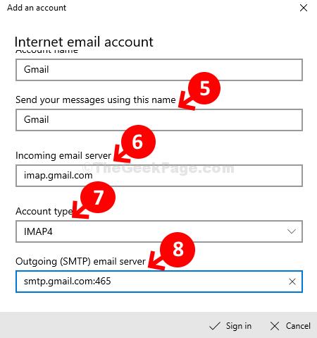 Invia i tuoi messaggi con questo nome Server di posta in entrata Tipo di account Smtp in uscita Email Swerver