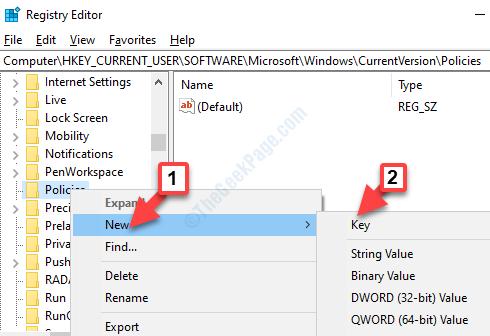 Criteri Fare clic con il pulsante destro del mouse su Nuova chiave