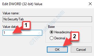Modifica Dword (32 bit) Valore Valore Dati 1 Ok